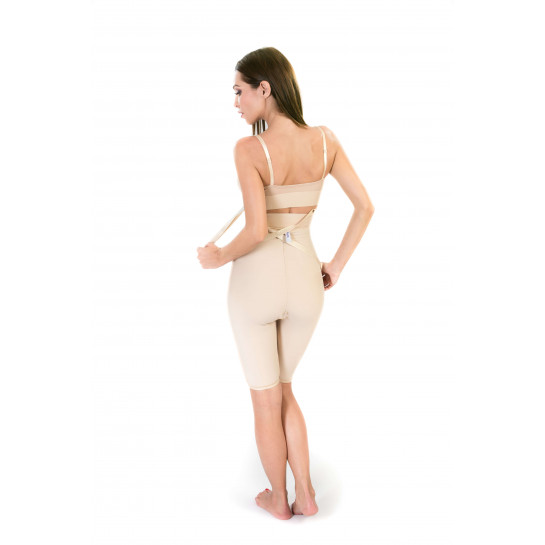 High Waist Lipo Panty Above Knee without Zipper, Stage II, Beige