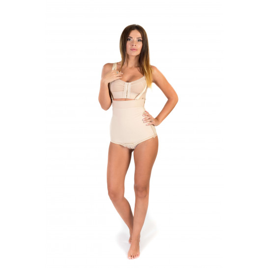 High Waist Abdominal Girdle with Zipper, Stage I, Beige