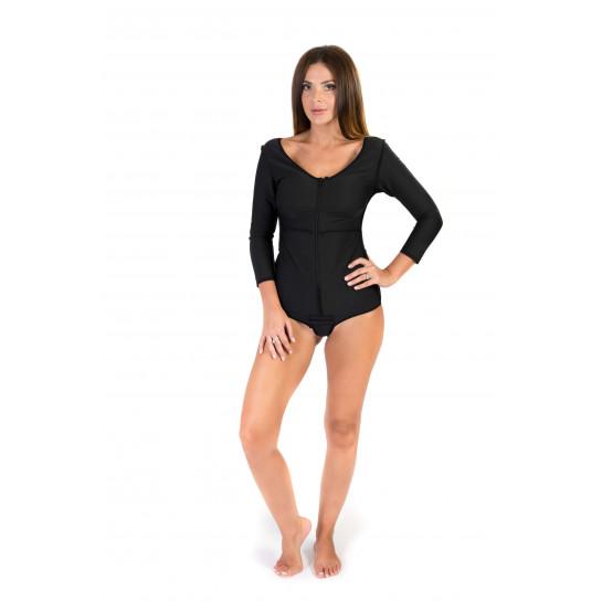 Long Sleeves Panty Length Bodysuit, Stage I, Black