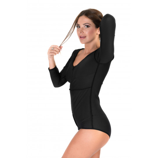 Long Sleeves Panty Length Bodysuit, Stage I, Black