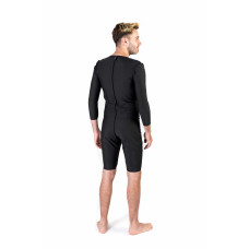 Long Sleeves Above the Knee Men's Bodysuit, Stage I, Black