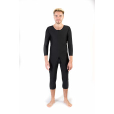 Long Sleeves Bellow the Knee Men's Bodysuit, Stage I, Black