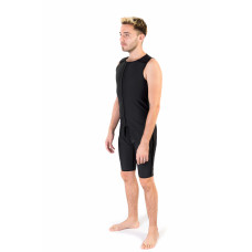 Sleeveless Above the Knee Length Men's Bodysuit, Stage I, Black